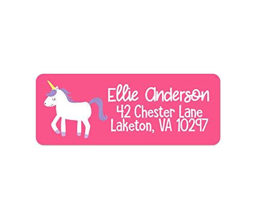 Unicorn Address Labels - Girls Address Labels - Unicorn Return Address -  Kids Camp Labels - 30 Labels - Waterproof Labels