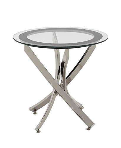 Norwood End Table with Tempered Glass Top Chrome and Clear (Renewed) (Norwood Table Round)