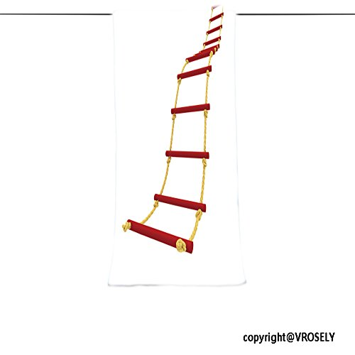VROSELV Custom Towel Soft and Comfortable Beach Towel-rope ladder isolated on white background Design Hand Towel Bath Towels For Home Outdoor Travel Use (Charleston Swivel Ladder)