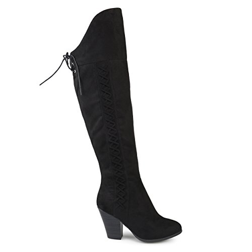 Brinley Co. Womens Siro Faux Suede Regular Wide Calf Faux Lace-up Over-The-Knee Boots Black, 8.5 Regular US by Brinley Co
