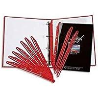 5 Star ETL-911905 - Tiras perforadas para archivar folletos o revistas (100 unidades, polipropileno), color rojo