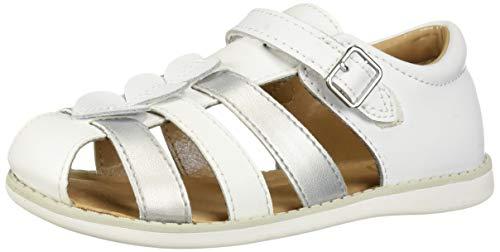 Stride Rite Ella Girl's Casual Sandal, White/Silver, 8.5