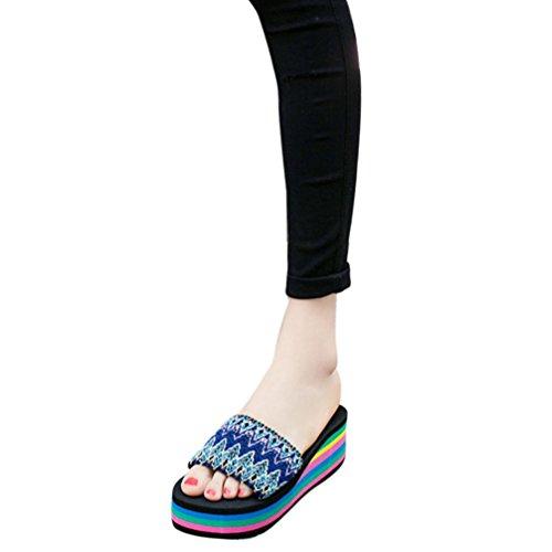 Women Rainbow Flip Flops, SUKEQ Fashion Women's Anti Slip Rainbow Summer Sandals, Peep Toe High Platform Wedge Sandals Slippers, Slip On Thong Flip-flops Causal Beach Shoes (7.5 B(M) US, Blue)