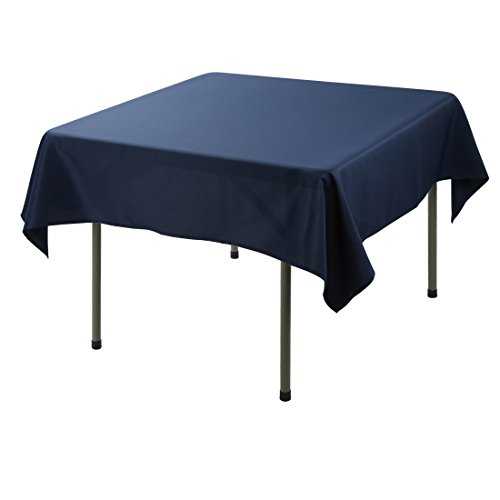 E-TEX Square Tablecloth – 52 x 52 Inch - Navy Blue Square Table Cloth for Square or Round Tables in Washable Polyester