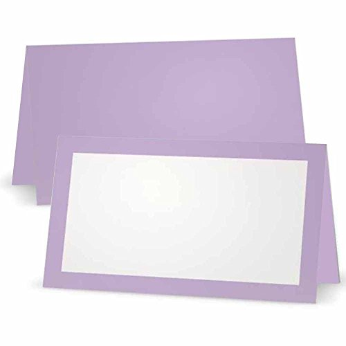 (Lavender Place Cards - Flat or Tent Style - 10 or 50 Pack- White Front with Solid Color Border Placement Table Name Seating Stationery Party Supplies (50, Tent Style))