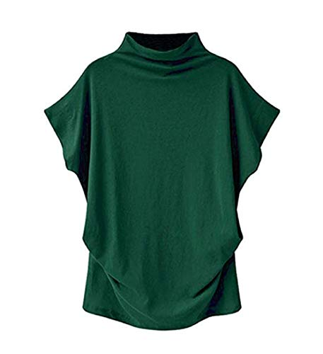 - VLDO Sweatshirts for Women Casual Loose Linen Soild Lace Splice Button Short Sleeve Tops (S, Green)