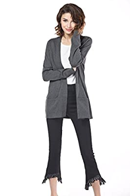 Knitbest Women's Long Boyfriend Pocket Knitwear Sweater Cardigan