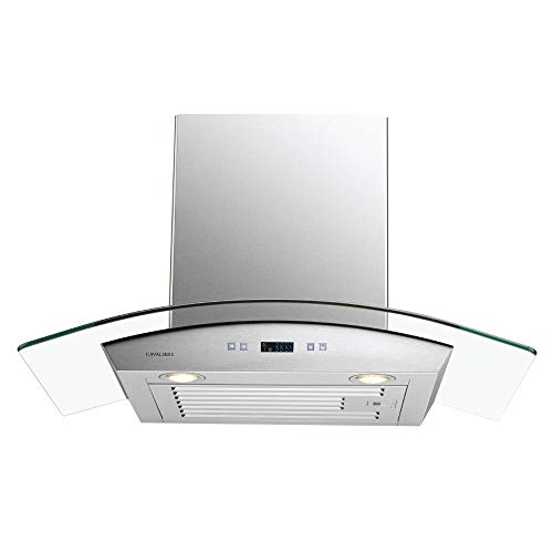 """CAVALIERE 30"""" Inch Glass Canopy Range Hood Wall Mounted Stainless Steel Kitchen Vent"""