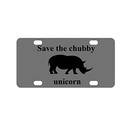 Personalized Save the Chubby Unicorn Gray License Plate, Custom Name Bike Plate, Kid's Door Sign, Car - For Good Names Unicorns