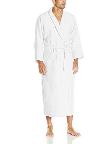 Superior 100% Cotton Waffle Robe with Terrycloth Lining and Shawl Collar, Oversized Unisex Hotel & Spa Bath Robes for Women and Men - Medium, White - Superior Spas