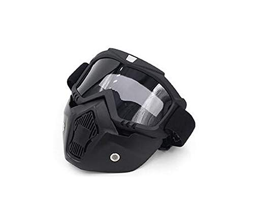 (A-Hha Modular Mask Detachable Goggles and Mouth Filter Perfect for Open Face Motorcycle Half Helmet Or Vintage Helmets,03)