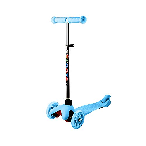 Hikole Scooter for Kids Toddler, 3 Wheel Mini Height-Adjustable Kick Scooter with LED Light Up Wheels, Birthday Gifts for Children Boys Girls 2 to 6 Years Old