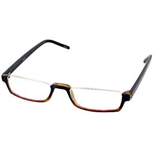 Nu Vue Single Vision Half Frame Reading Glasses, Black / Amber Fade, +1.75