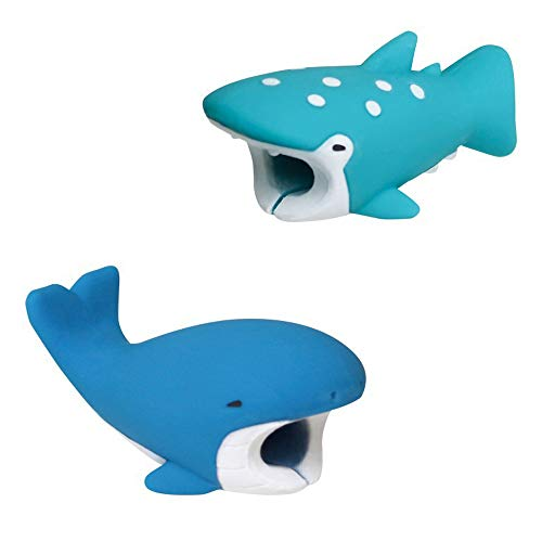 Kalolary 2 Pack Cute Animals Cable Bites, Various Animal Cable Chompers Cable Chewers Cable Accessories Phone Cables Protects (Whale, Whale Shark)