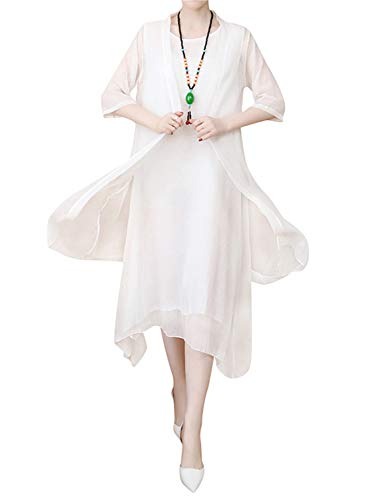 HÖTER Women's Oriental Beauty Folk Style Irregular Maxi Painting Cotton Linen Casual 2-Pieces Loose Dress(M-2XL)