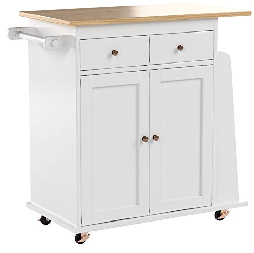 Target Marketing Systems Sonoma Collection Two-Toned Rolling Kitchen Cart with Drawer, Cabinet, and Spice Rack, White/Natural by Target Marketing Systems (Image #5)
