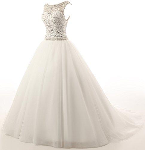 Kristall Perlen Damen T¨¹ll Ohne Elegant Arm Weiß prinzessin Changjie Hochzeitskleider Brautkleid Kirche UAqI7AX