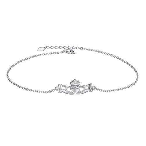 Celtic Claddagh Bracelet - S925 Sterling Silver Adjustable Foot Chain Claddagh Ankle Bracelet Anklet Jewelry for Women Girl Birthday Gift Mother's Day Gift (Claddagh)