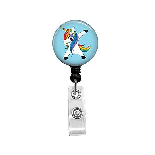 Unicorn Retractable Badge Reel with Alligator Clip,Name Nurse ID Card Badge Holder Reel, Decorative Custom Badge Holder ()