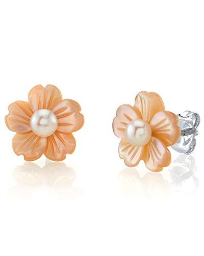 THE PEARL SOURCE 4-5mm Button-Shape White Freshwater Cultured Pearl on Peach Mother of Pearl Flower Lotus Earrings for Women