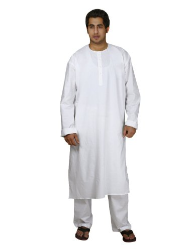 [Handmade White Cotton Men's Kurta Pajamas Set - Traditional Indian Costume - Perfect for Casual Summer] (Male Indian Costumes)