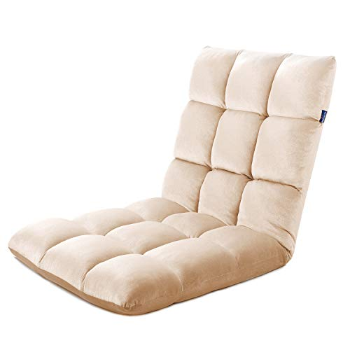 - Floor Chair Folding Gaming Sofa with Adjustable Backrest Padded Lazy Recliner Lounger Sleeper Bed Couch Comfortable Back Support for Reading Games Meditation (Beige)