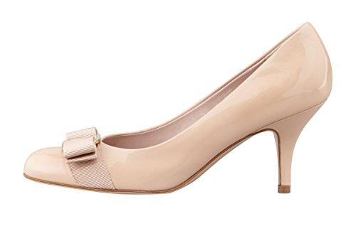 Verocara Women's Grosgrain Bow Kitten Heel Almond Toe Evening Dress Pumps Nude Patent 11 B(M) US