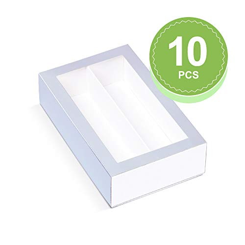 BAKIPACK Macaron Boxes (Interior Mesurement 7.25×4 ×1.8 Inches), Macaron Box for 12, Macaron Packaging Boxes with Clear Window, Silver, 10 Pcs without Macarons inside