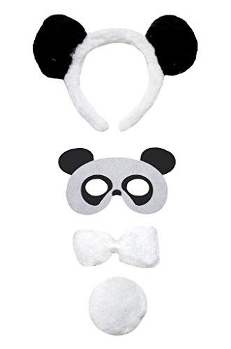 [Petitebella Panda Headband Mask Bowtie Tail 4pc Costume for Child (One Size)] (Panda Tail)