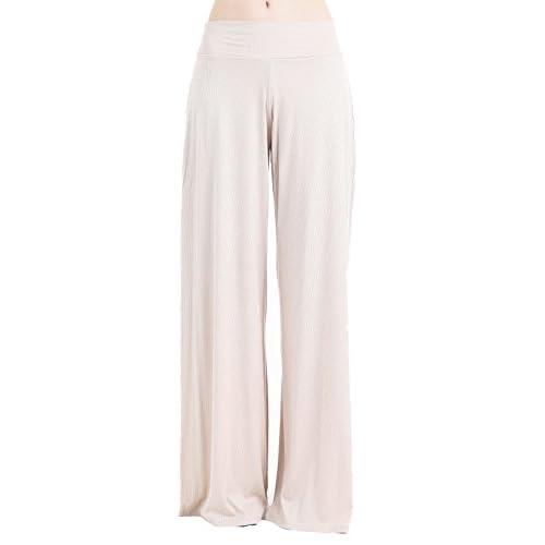Frumos Womens Palazzo Pants Ribbed Knit Flared Long Pants Made In USA