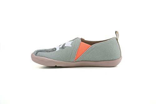 UIN Women's Bear's Hug Travel Canvas Slip-on Shoe Grayish-green (8)