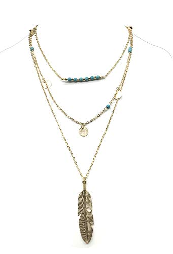 RAMONGGU 3 Layered Coin Turquoise Feather Boho Necklace for Womens Girls