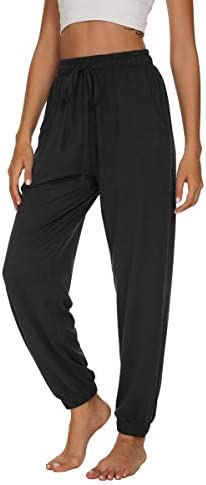 UEU Womens Yoga Joggers Pants High Waisted Loose Comfy Lounge Pants Cinch Bottom Casual Pants with Pockets 1