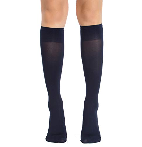 6 Pair Women Opaque Microfiber Stretchy Knee High Trouser Socks-navy