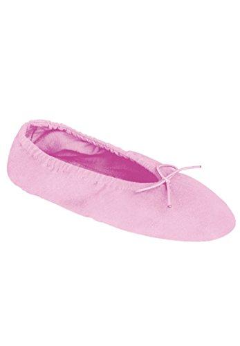 Dreams & Co. Womens Wide Knit Ballerina Slippers Pink RPKmf
