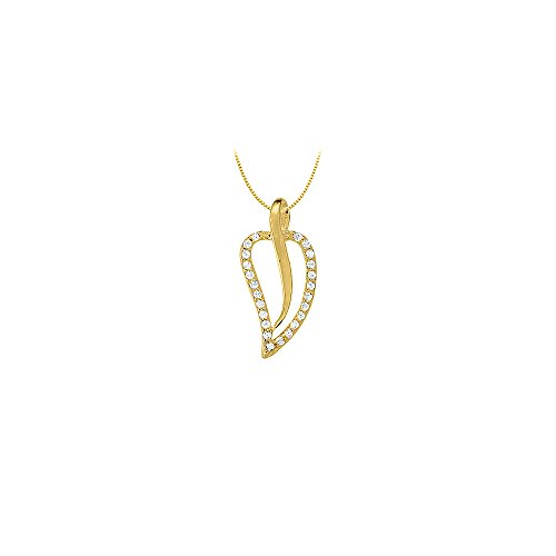 Diamond Leaf Shaped Pendant in 14K Yellow Gold 0.25 CT TDWPerfect Jewelry Gift ()