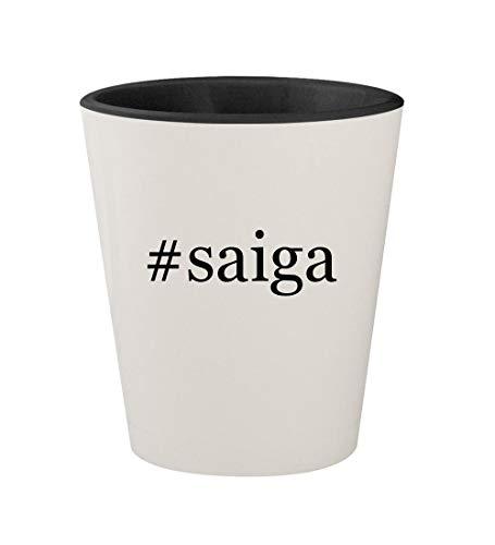 #saiga - Ceramic Hashtag White Outer & Black Inner 1.5oz Shot Glass
