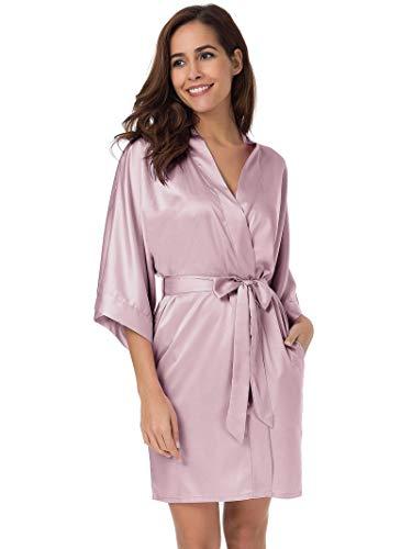 (SIORO Women's Satin Robes Silk Kimono Bathrobe for Bride Bridesmaids Wedding Party Loungewear Short,Dusty Rose M)