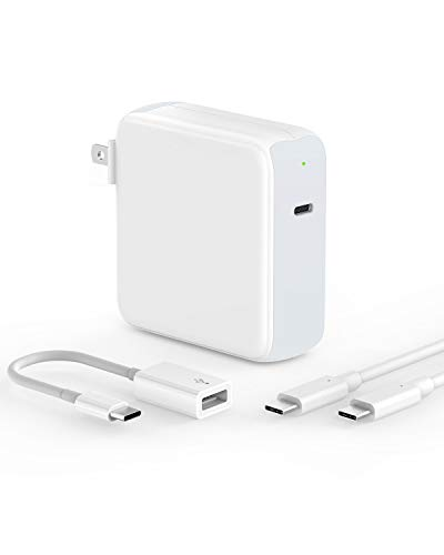 87W USB-C Power Adapter Charger for MacBook Pro 15 inch 13 inch 2019 2018 2017 2016 A1707 A1990 2018 MacBook Air, 6.6ft 5A USB C-C Cable, LED Indicator, Thunderbolt 3 Port Type C to USB 3.0 Adapter