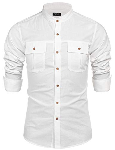 COOFANDY Men's Mandarin Collar Long Sleeve Work Shirt Logger Shirt with Pockets White Banded Collar Long Sleeve Work Shirt