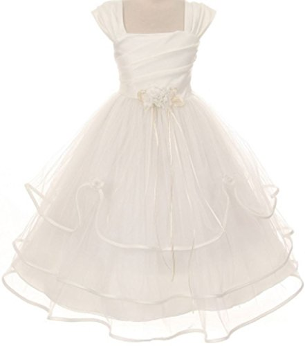 Big Girls' Pleating Satin Layered Tulle Princess Communion Flowers Girls Dresses Ivory 14 (Hairstyles First Communion)