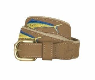 Guy Harvey Leather Belts - Bull Dolphin - Size 32 - Khaki