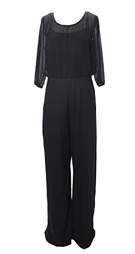 Max & Co. Women's Xpaiolo Partial Sheer Jumpsuit, Black, US 8/IT 44 by Max & Co.