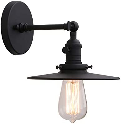 Phansthy Industrial Wall Light 1-Light Bathroom Vanity Light with 7.87 Inches Crafted Lamp Shade,Matte Black Finished Matte Black