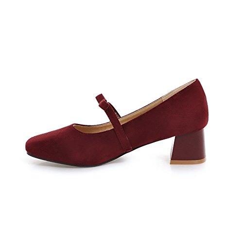 Balamasa Donna Tacchi Spun Oro Filato Bowknot Punta Quadrata Mucca Scarpe Imitazione Pelle Scamosciata Rosso