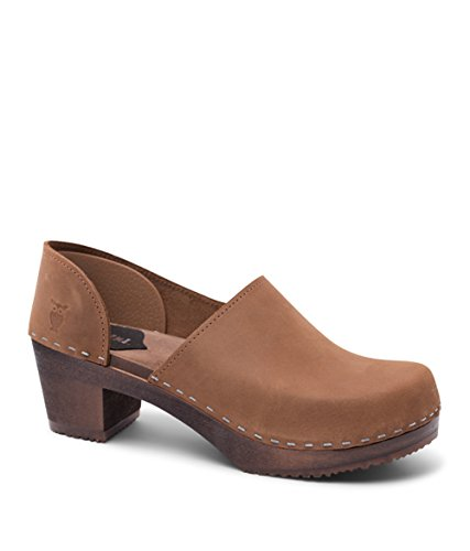 Sandgrens Swedish High Heel Wooden Clogs for Women | Brett Dexter Tan, EU 38