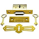 LRT-4 Brass Square ROLL TOP Desk Lock Full Mortise & Skeleton Key + Free Bonus (Skeleton Key Badge)