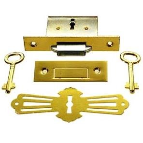 LRT-4 Brass Square ROLL TOP Desk Lock Full Mortise & Skeleton Key + Free Bonus (Skeleton Key Badge) (Full Mortise Lock)