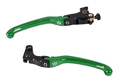 Bonamici Kawasaki ZX-6R (05 - 17)/ZX-10R (06 - 15) de palanca plegable (freno y embrague), color verde: Amazon.es: Coche y moto