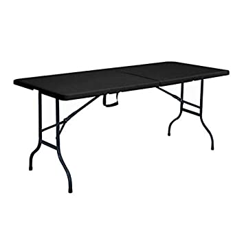 Rekkem Table Pliante Noire 180 x 75 x 74 cm: Amazon.fr: Jardin